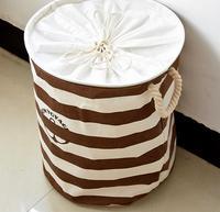 2016 Cotton Linen Fabric Laundry Basket Packing Clothing Storage Basket Big Capacity Foldable Dirty Clothes Storage