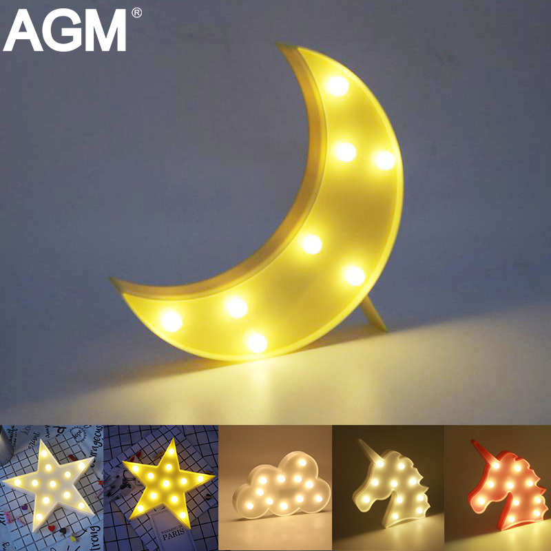 AGM LED Night Light Cloud Moon Star Lamp 3D Lights Novelty Luminaria Cactus Nightlight Marquee Letter For Baby Kids Gift Decor 3d led night light indoor wall lamp for children baby room cute cloud star moon rc remote controller desk table lampara