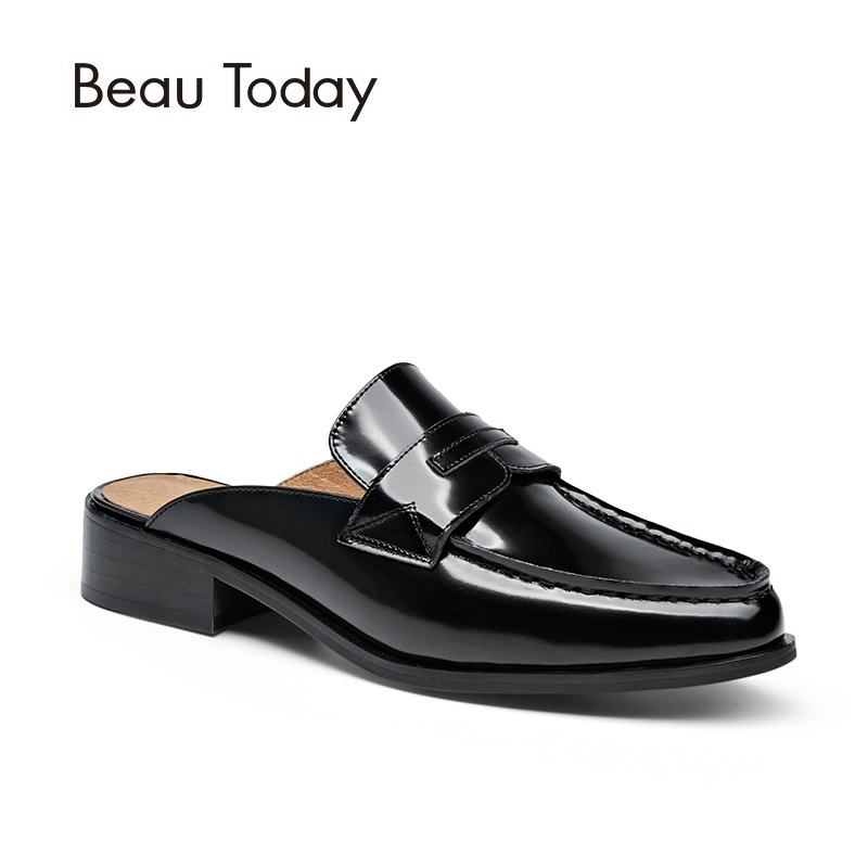 BeauToday Penny Mules Women Genuine Patent Cow Leather Open Heel Neutral Style Moc-toe Sapato Feminino Ladies Shoes 36011 2017 real top cover heel open casual sapato feminino melissa genuine big size retro solid square heel shoes woman ladies womens