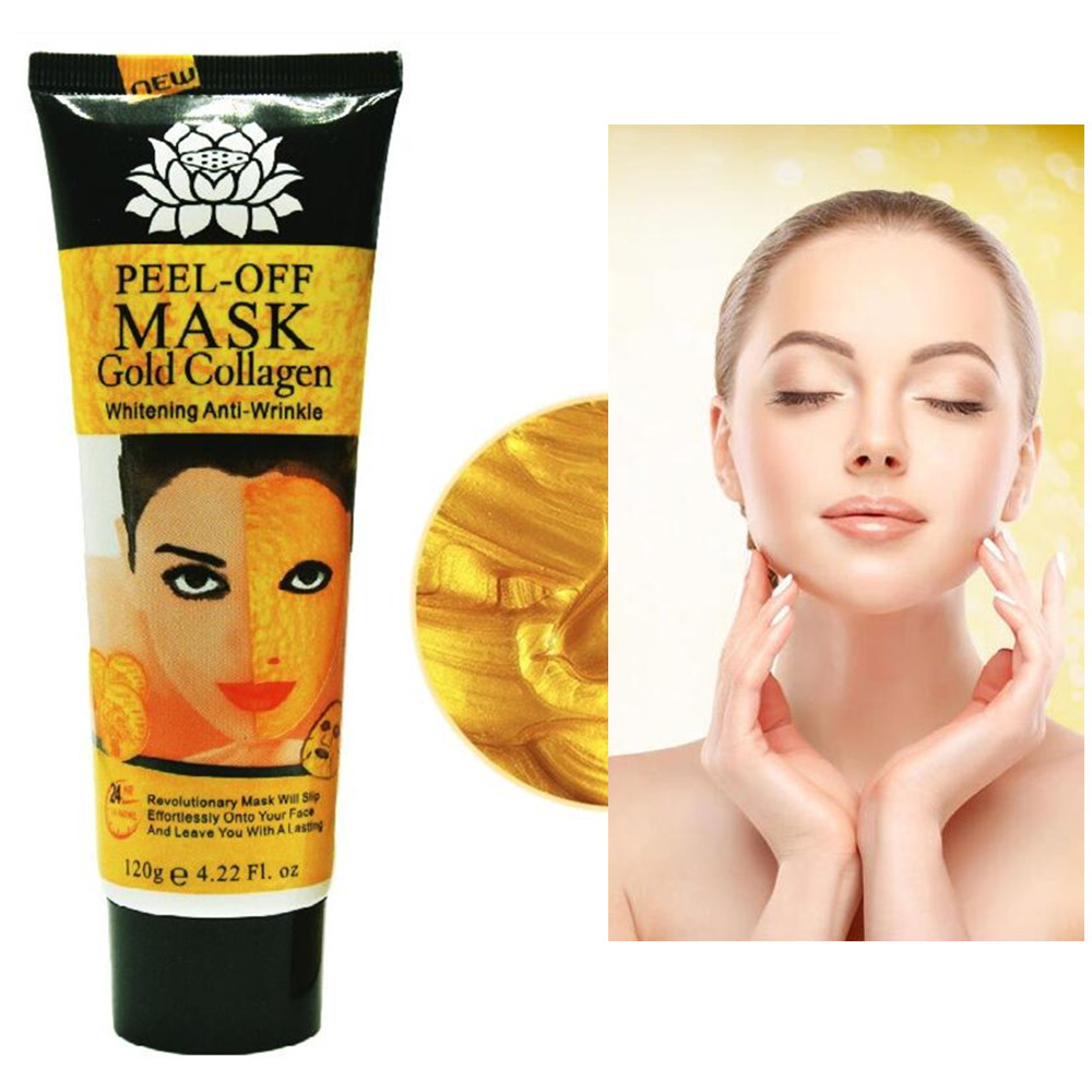 New Lotus Gold Mask Natural Collagen Black Head Tear Mask Brightening Moisturizing Repair Shrinking pores Gold Mask Cosmetics ...