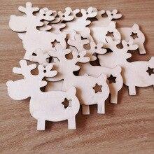 10PCS 2019 Christmas Wooden Decoration Ornaments DIY Craft Embellishment Tree Pendants