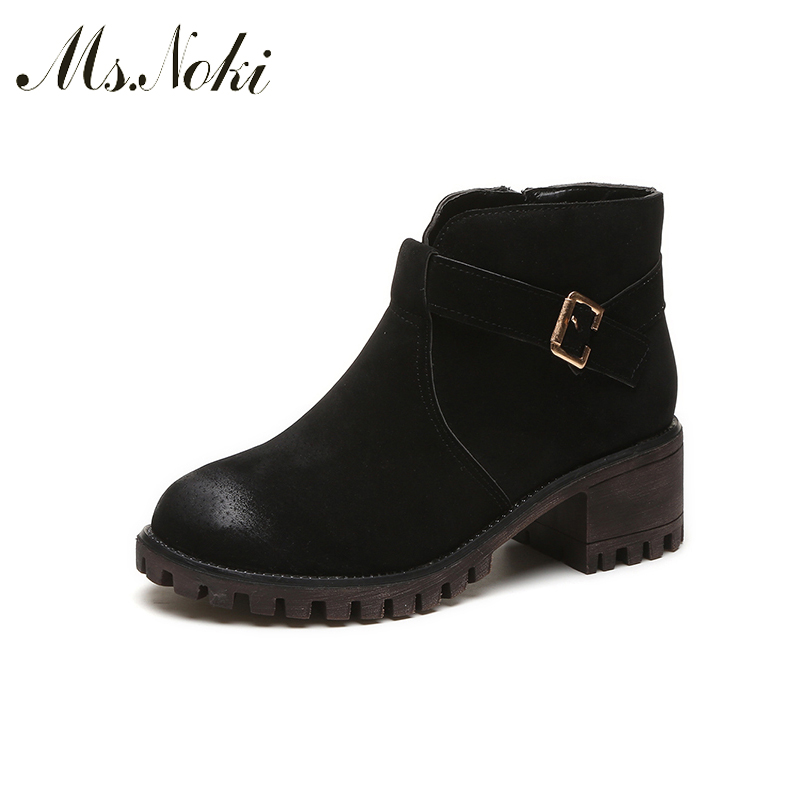Ms.Noki  High quality Buckle strap Square heel PU ankle boots 2017 fashion women boots Flock Warm inside boots 5cm shoes xiaying smile summer new woman sandals platform women pumps buckle strap high square heel fashion casual flock lady women shoes