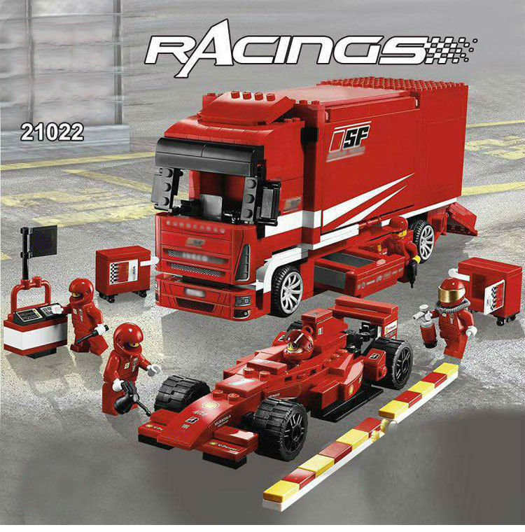 children toy CHINA BRAND 21022 self-locking bricks Compatible with Lego Racers F1 Cargo 8185 cx 21022 554pcs model building kits compatible with lego 8185 f1 automobile carrier 3d bricks figure toys for children