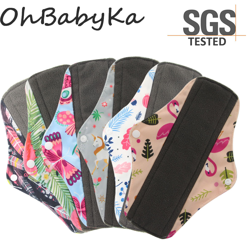 Pads Day-Pad Menstrual-Napkins Feminine-Pad Bamboo-Charcoal Flamingo-Print Washable Women
