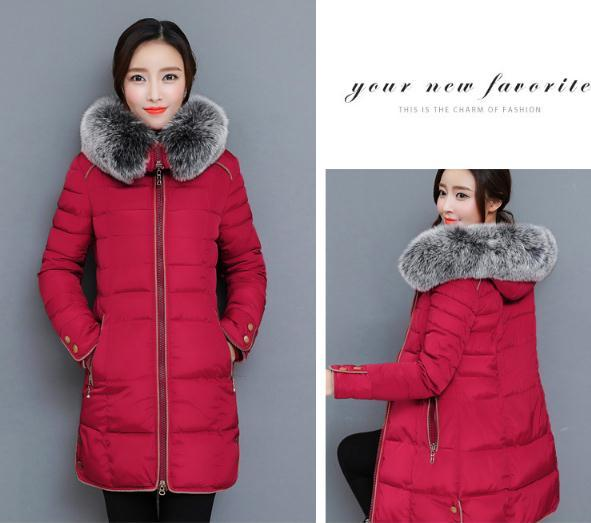 2018 The new Korean version of the long version of the thickening body, large wool collar cotton clothes NN1709. 4