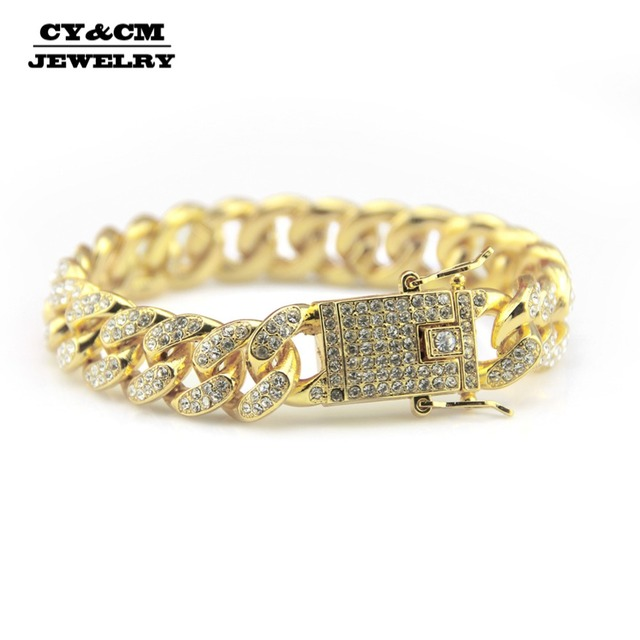 12mm Mens Gold Silver Rhinestone Bracelet Bangles Alloy Heavy Miami Cuban Link Chain Bracelets Hip Hop Punk Jewelry for Men 8""
