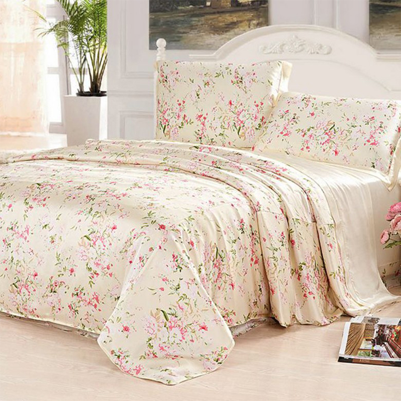 100% Mulberry Silk 19 Mommie Luxury 4 Pieces Bedding Set Single Double Size Bed Sheet Du ...
