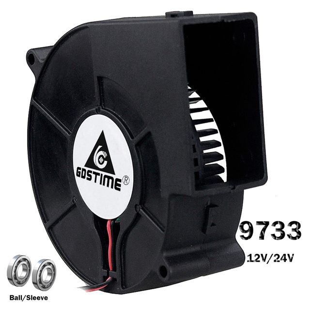 Gdstime DC 9733 12V 24V Blower Fan  97mm 97 x 33mm BBQ Blower Big Air Blower Flow Centrifugal Fan 3600RPM Sleeve/Ball Bearing