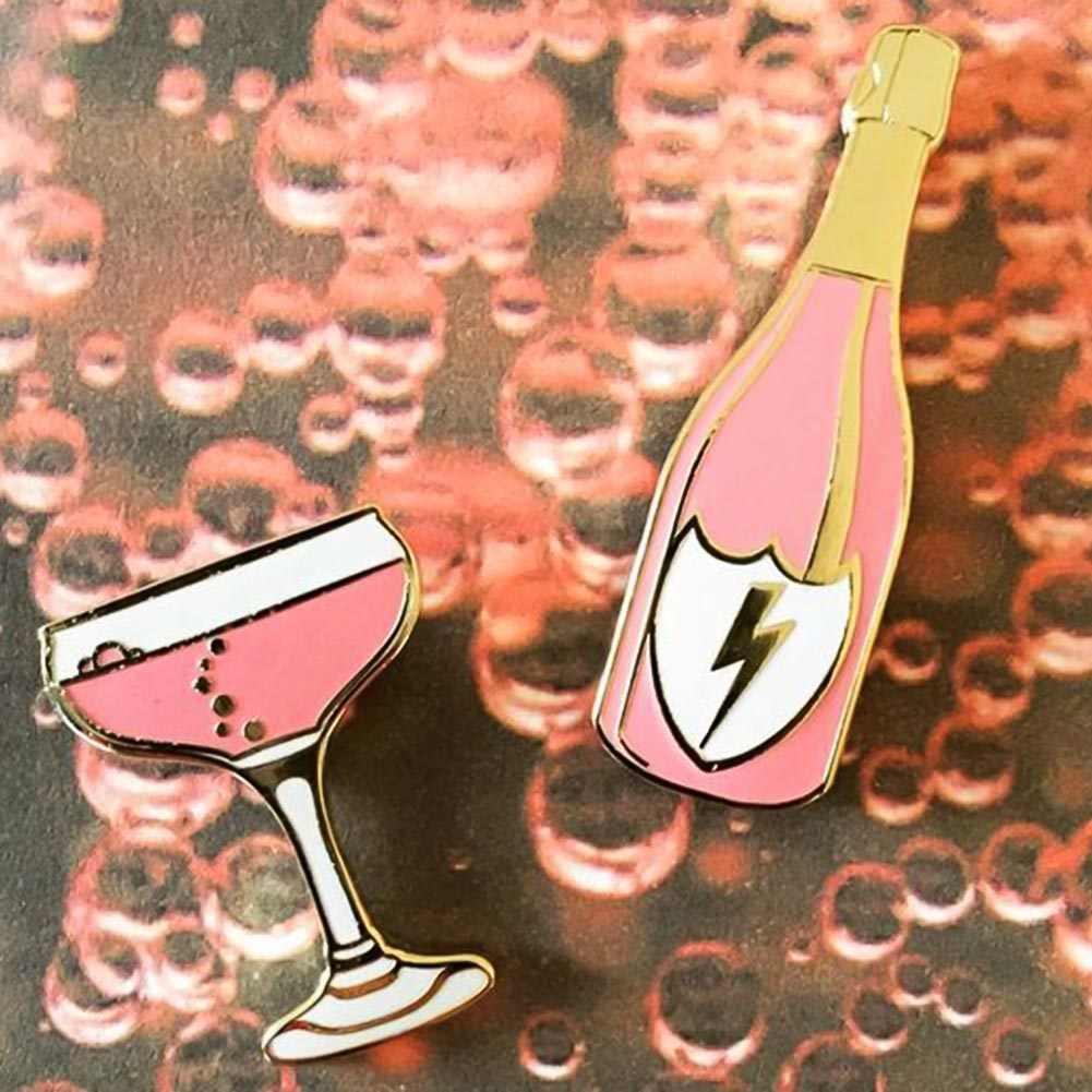 1PC Kartun Hewan Indah Cat Enamel Cocktail Anggur Vintage Bros Mawar Bunga Bros untuk Wanita Pin Lencana