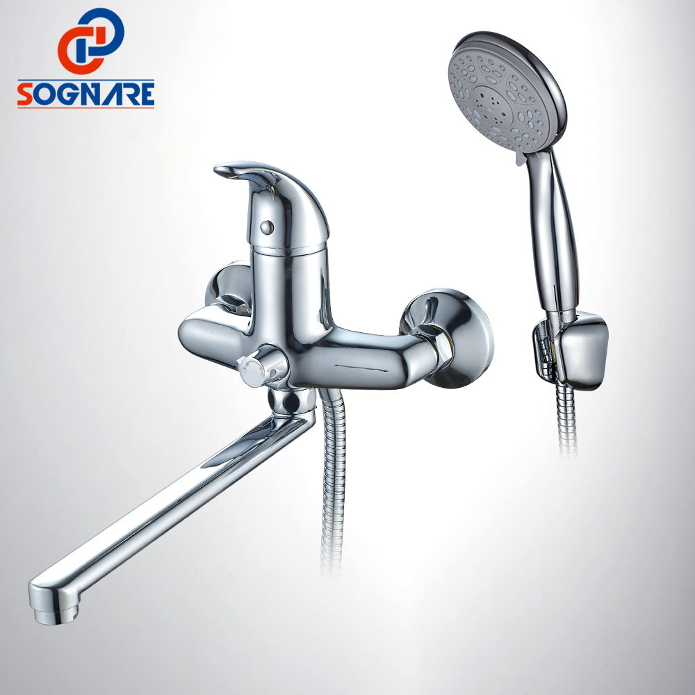 SOGNARE Brass body Bathroom Shower Faucet Single Handle Cold And Hot Bath Shower Faucet Set With Hand Shower Chrome Finish D5126 free shipping chrome brass hand shower set faucet wall mounted with brass holder and hot cold control shower valve is125