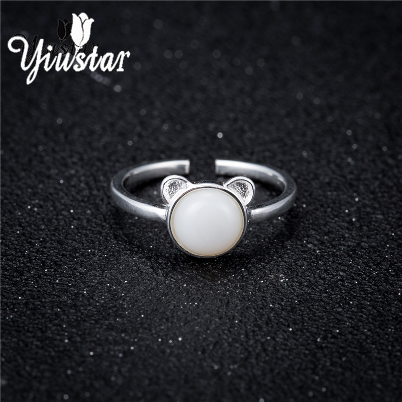 yiustar White Stone Cat Ring Matte Kitten Cat Wrap Ring Animal Finger Ring For Young Girl Women Adjustable Engagement Ring