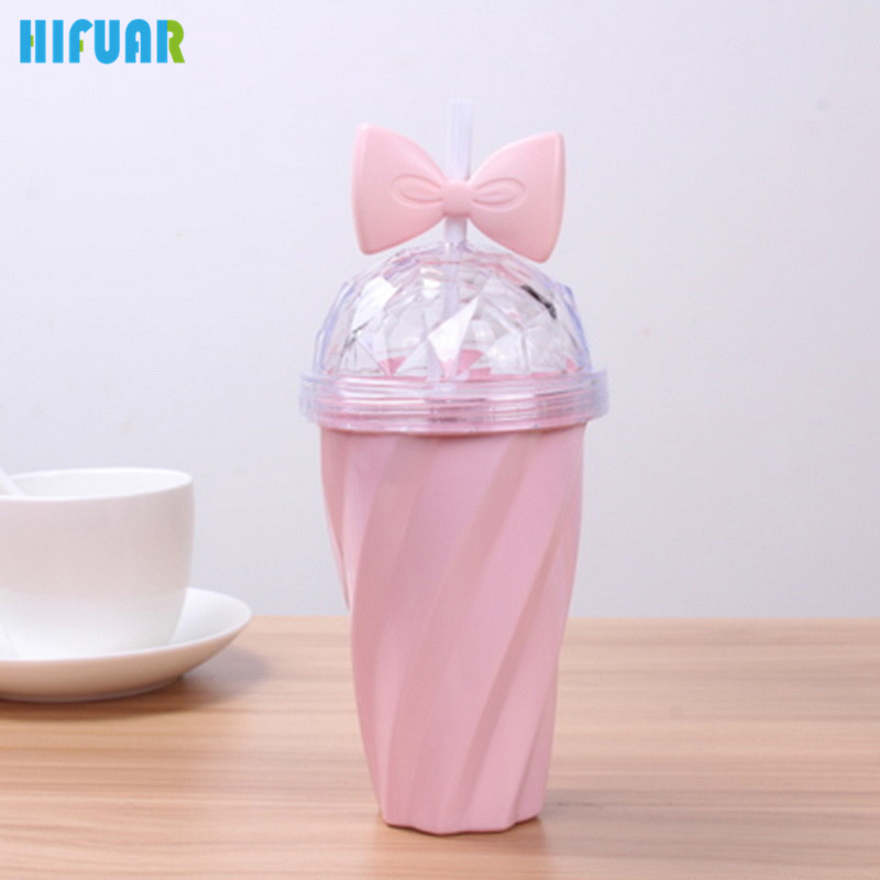 Hifuar Pink Plastic Sealed Glass Straw Bow Candy Twisted Bottle Sport Water Bottle Drink Bottle Eco-friendly Protein Drinkware
