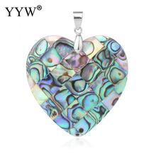 Natural Abalone Shell Love Heart Necklace Pendants for Girlfriend Ocean Rainbow Paua Pendant Valentines Gift