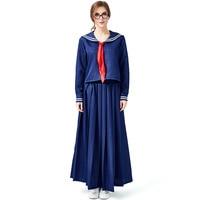 New 2019 Long Sleeve Navy Uniforms Long Skirt Design Navy Blue Jk Academy College Uniform Cosplay Japanese Sailor Clothing Tie