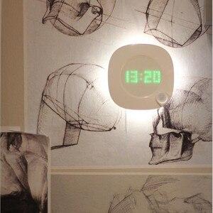 Image 2 - Motion Sensor Night Light With Clock Battery Power PIR Sensor Two Lighting Color Adjustable Brightness Magnet Night Lamp