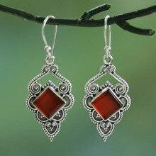 цены на Exquisite Vintage 925 Thai silver  Heart Earrings Inlaid Red Stone Fancy Dress Party Earrings for Women Jewelry Accessories  в интернет-магазинах