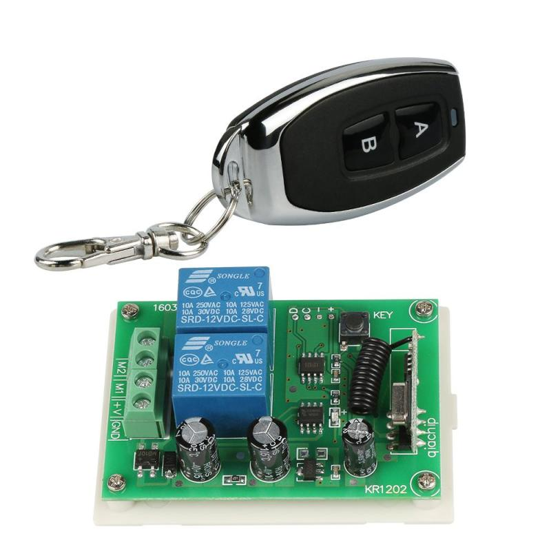 QIACHIP 433 MHz RF 2 Channel Transmitter and Relay Receiver Module Learning Code 1527 Remote Control Switch Garage Door Opener