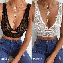 Bra Underwear Tops Padded-Bras Lace Bralette Plus-Size Women Black/white Lingerie Embroidery