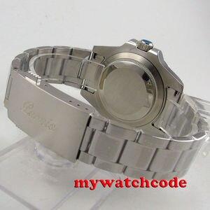 Image 4 - 40Mm Parnis Mechanische Horloges Zwart Rood Keramische Bezel Zwarte Wijzerplaat Gmt Saffierglas Automatische Herenhorloge Relogio Masculino