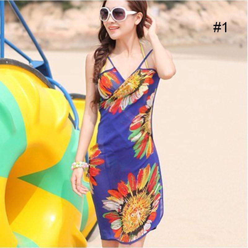 Women Beach Dress Swimwear Sexy Sling Beach Wear Dress Sarong Bikini Cover-ups Wrap Pareo Skirts Towel Flower Open-Back Swimsuit 12