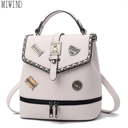 Vintage Women Backpack Fashion Leather Backpack School Bags For Teenagers Girls Female Travel BackPack TFF430 joyir genuine leather women backpack vintage school bags for teenagers girls female backpacks women travel bags 2018 brand 8664