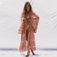 Flare Sleeve Sexy Lace Long Kimono Cardigan Beach Boho Shirts For Women Beach Holiday Cardigan Wrap Long Blouse Autumn Outwear