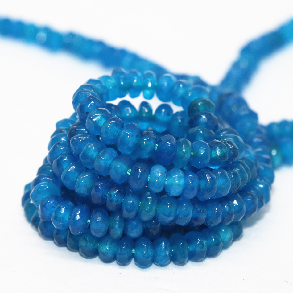 Fashion blue cute <font><b>2X4mm</b></font> 4X6mm 5X8mm fashion chalcedony stone jades abacus Faceted loose Beads diy Jewelry making 15 inches B163 image