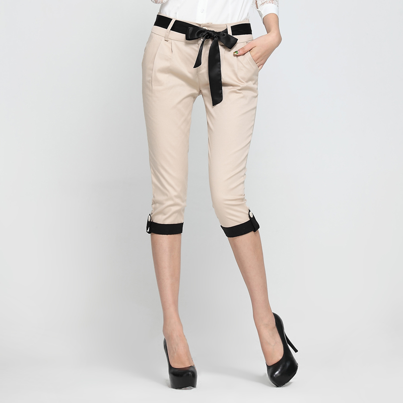 discount 2018 summer Fashion casual Stretch patchwork female women girls calf-length pants trousers clothes