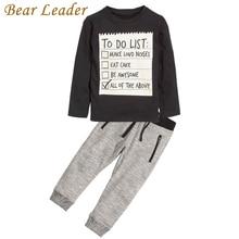 Líder do urso Do Bebê menino roupas 2017 Novos Outono e Inverno Escuro cinza t-shirt de manga comprida + calças compridas casuais 2 pcs terno crianças roupas