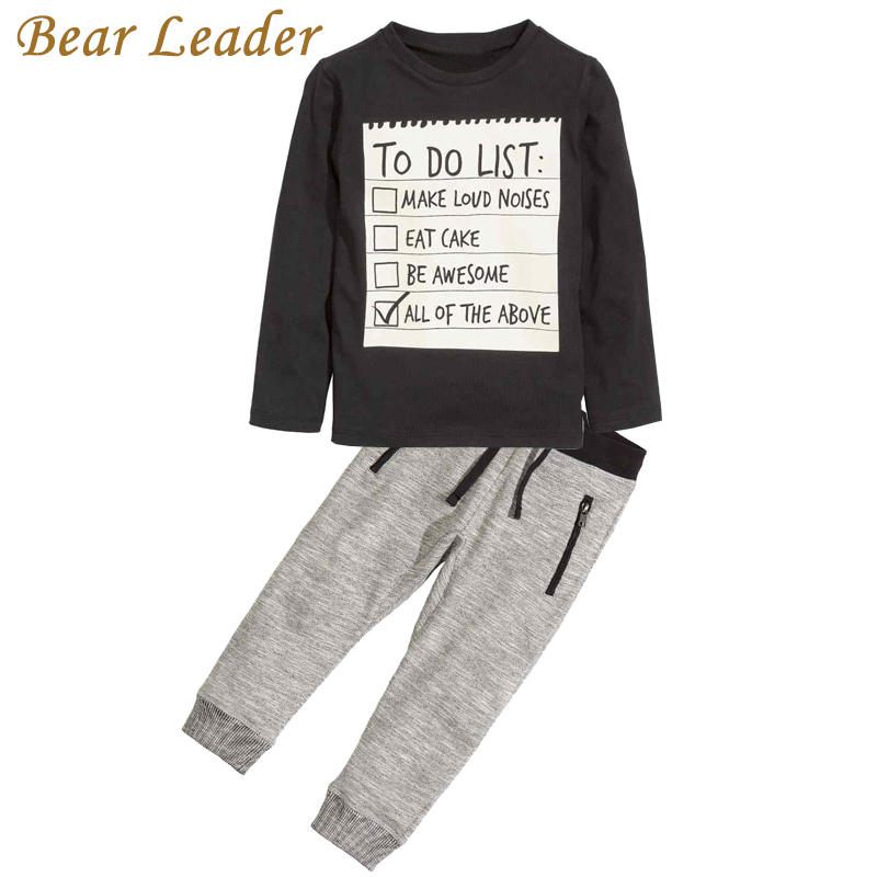Bear Leader Baby boy clothes 2016 New Winter and Autumn Dark Grey long sleeve t-shirt + casual long pants 2pc suit kids clothes