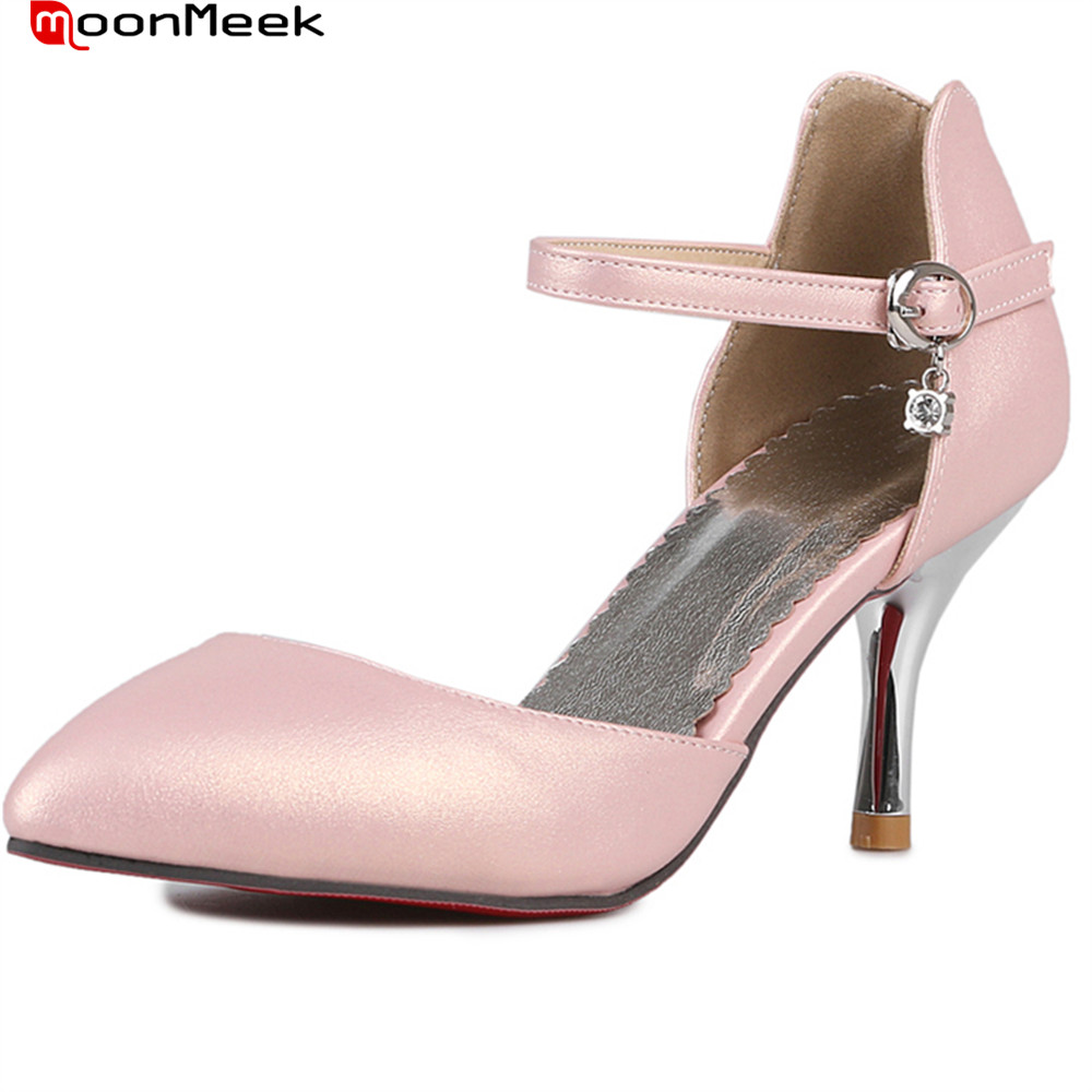 все цены на MoonMeek 2018 spring autumn hot fashion sexy female shoes high heels with butterfly knot pointed toe simple women pumps