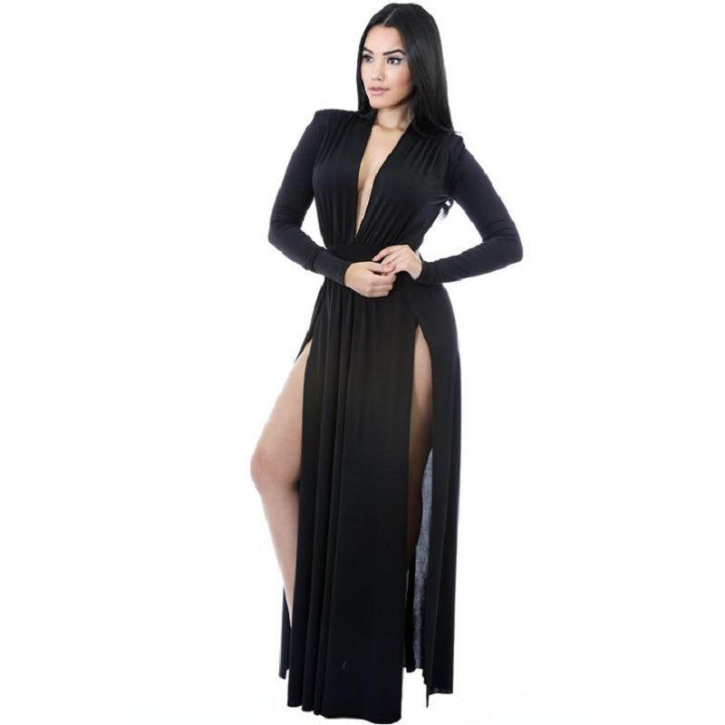 Black Super Classy Long Sleeves Double Slit Long Maxi Dress For