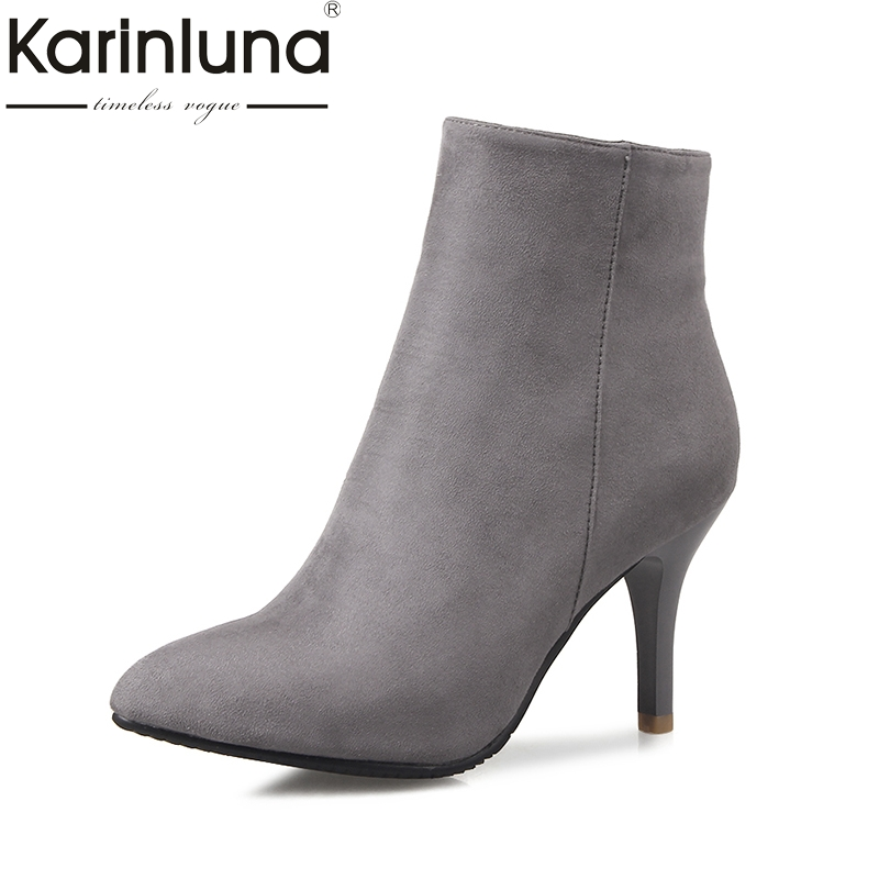 KarinLuna size 32-46 pointed toe ankle boots women shoes autumn winter thin high heels black blue red gary shoes woman karinluna 2018 plus size 30 50 pointed toe square heels add fur warm winter boots woman shoes woman ankle boots female