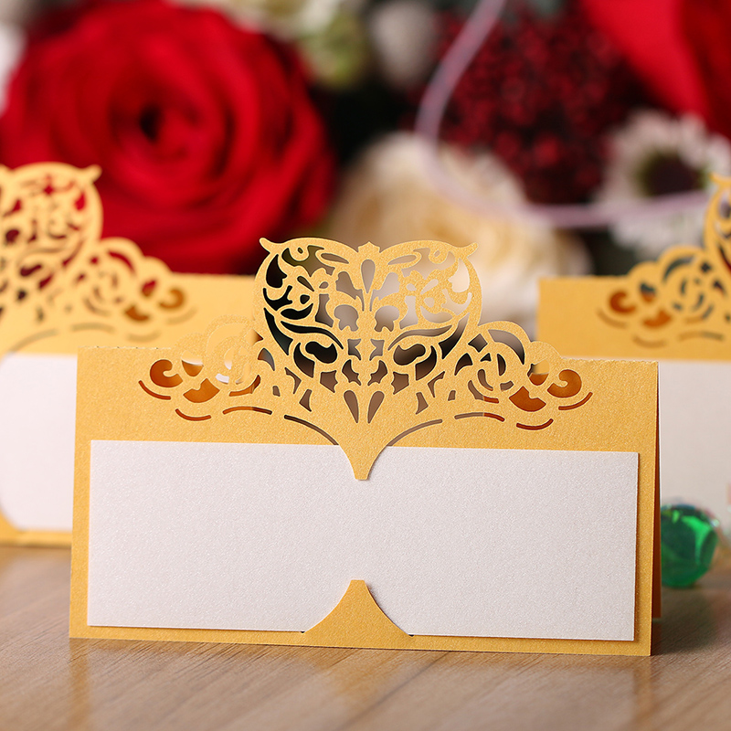 12pcsset laser cut crown place cards wedding name cards for wedding party table decoration goldin cards u0026 invitations from home