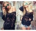 Hot Sale New 2016 Spring Fashion Long Sleeve Women Hollow Out Lace Cotton Blouse Shirt Plus Size XXXXL