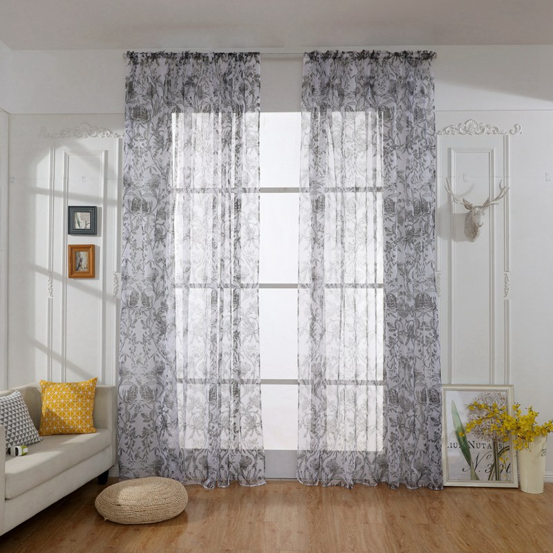 Tulle Curtains Printed Kitchen Decorations Window Treatments American Living Room Bedroom Divider Sheer Voile Curtain
