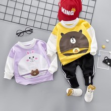 Boys Outfits Sets Spring 2019 Childrens Sports Suit Cartoon New Pullover Clothing Toddler Boy