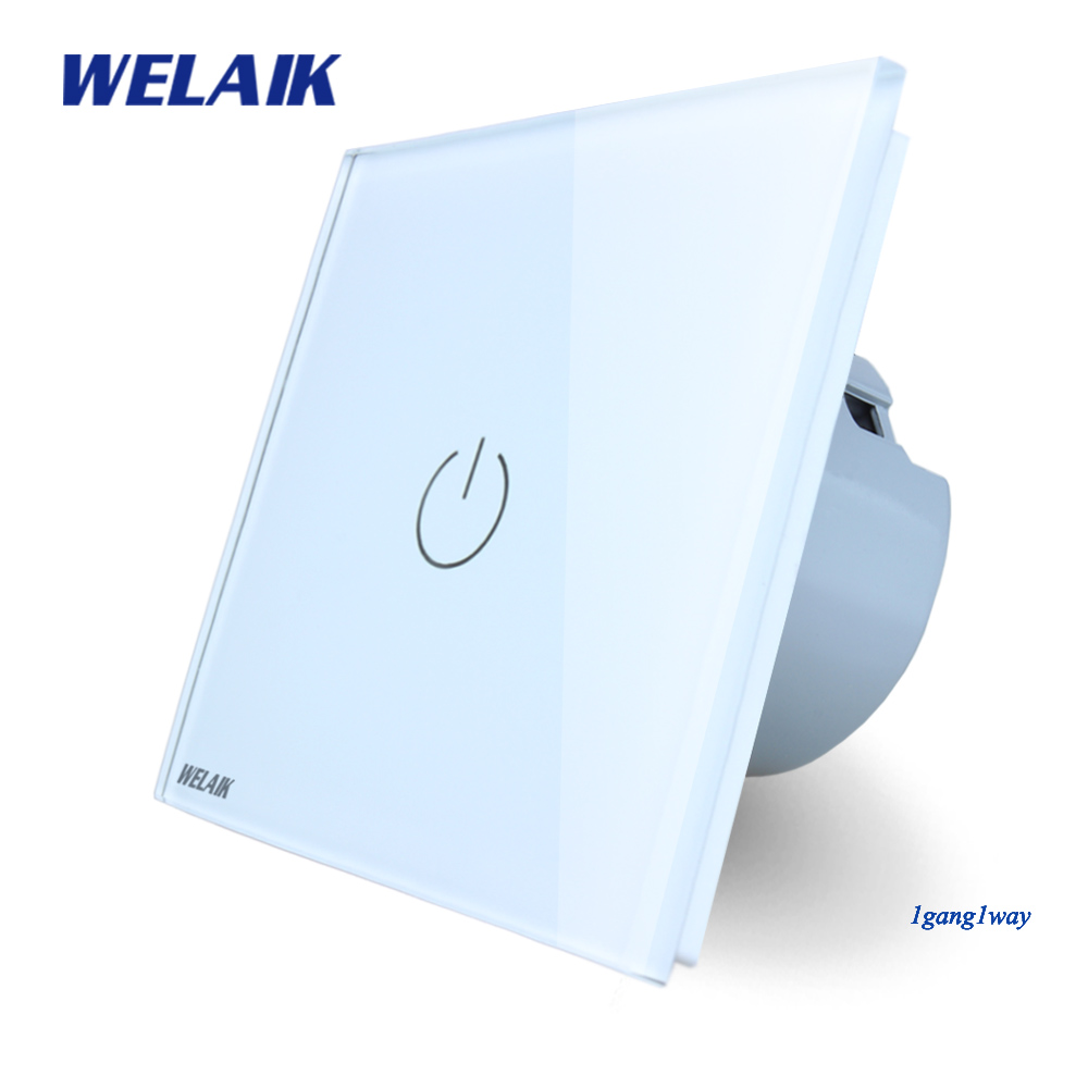 Welaik interruptor de cristal del panel del vidrio interruptor de pared UE Interruptor táctil pantalla pared interruptor 1gang1way AC110 ~ 250 V LED lámpara A1911W/b