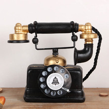Estatuilla de teléfono antigua de simulación de línea fija Vintage, estatuilla de teléfono antigua desgastada, decoración del hogar KM88