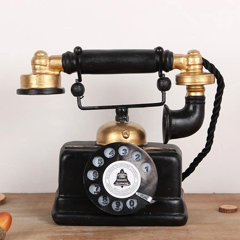 Vintage Telephone Statue Antique Shabby Old Phone Figurine Home Decor KM88