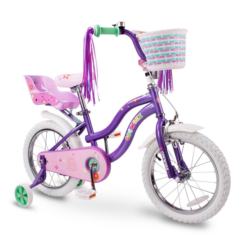 COEWSKE enfant vélo cadre en acier enfants vélo petite princesse Style 14-16 pouces avec roue d'entraînement
