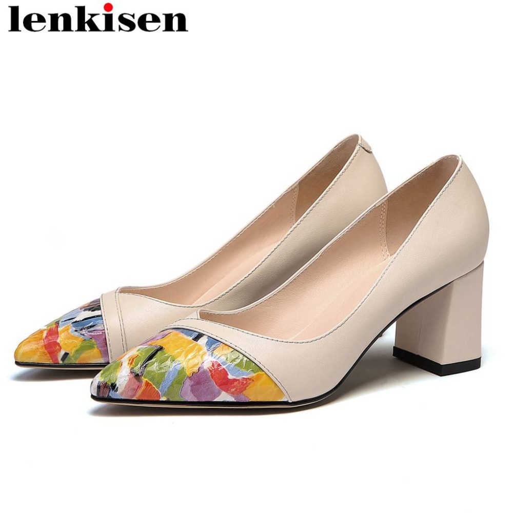Lenkisen office lady high heels cow leather original design new fashion runway women pumps pointed toe mixed colors shoes L7f1Lenkisen office lady high heels cow leather original design new fashion runway women pumps pointed toe mixed colors shoes L7f1