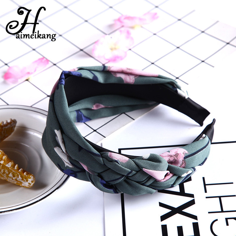 Haimeikang Fabric Printed Flower Hair Hoop Hairbands Hair Accessories For Women Creative Weave Twist Wide Headband Headwear