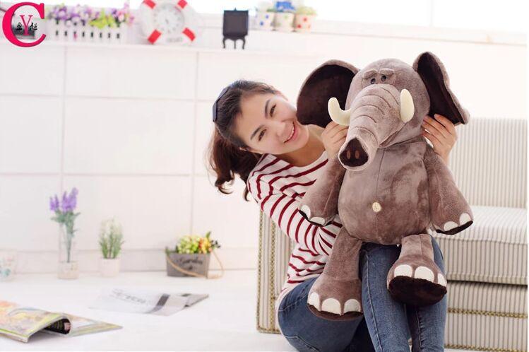 Oyuncaklar ve Hobi Ürünleri'ten Doldurulmuş ve Peluş Hayvanlar'de Yeni yaratıcı Peluş fil oyuncak güzel Doldurulmuş orman fil hediye bebek yaklaşık 70 cm 0211'da  Grup 1