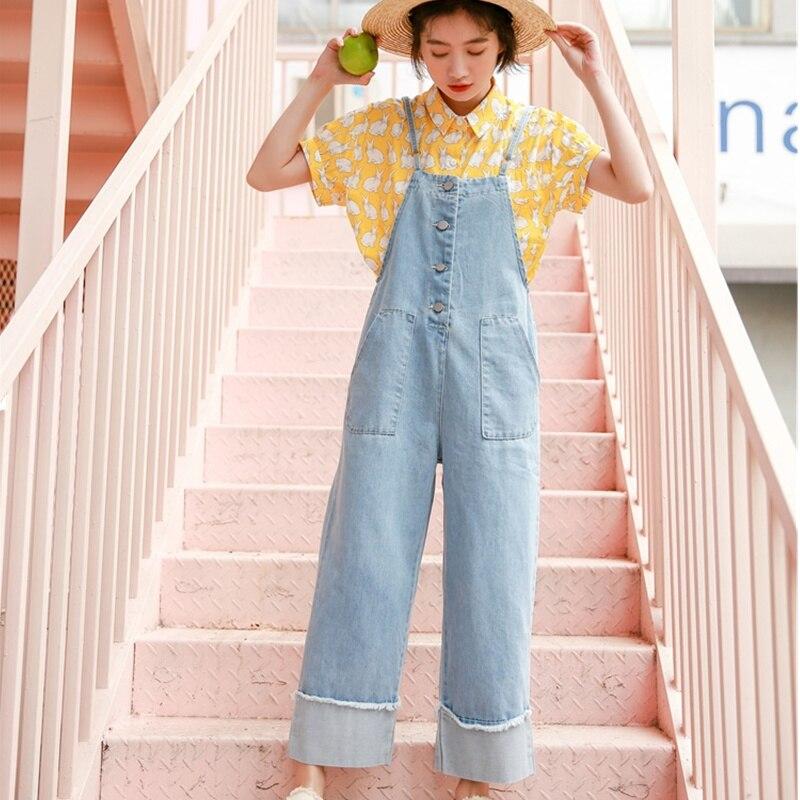 8018d03227 Womens Romper Denim Overalls For Women Summer Autumn 2019 Roll Up Casual  Long Pants Women Jumpsuit Plus Size Jeans Rompers