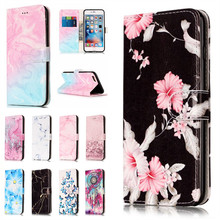 For iPhone 6 6S Etui Case For Apple iPhon 6 S Plus 6Plus Coque Cover Granite Marble Pink Wallet Leather Phone Bags Capinhas Capa