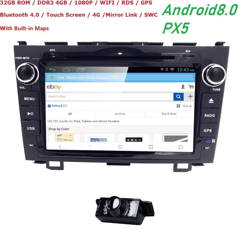 Hizpo NOUVELLE Android 8.0 8 pouce Octa Core dvd De Voiture Vidéo GPS Pour Honda CRV 2006-2011 écran Capacitif 1024*600 + 4g wifi + 4 GRAM + 32 GROM