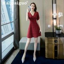 Plus Size Summer Casual Dress 2019 A-line Print White Polka Dot Women Backless Modis Red Sundress Robe Boheme Femme Ropa