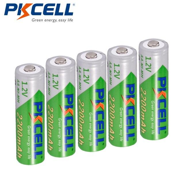 5 X PKCELL סוללה AA נמוך פריקה עצמית עמיד Ni MH 1.2V 2200mAh AA נטענת סוללה 2A סוללות עבור שלט רחוק