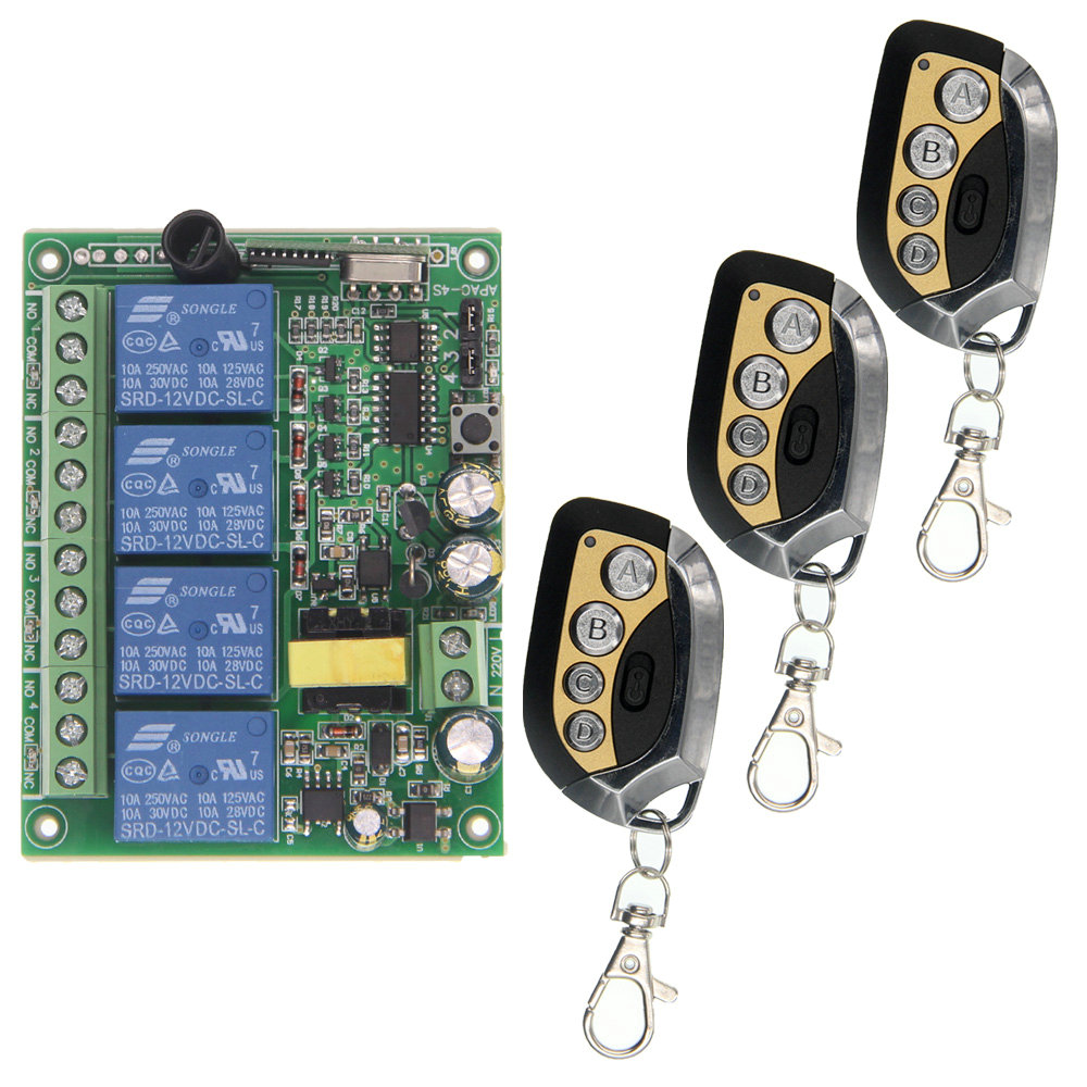 купить Smart Home AC 220V 4CH 4 CH Wireless Remote Control LED Light Bulb Switch Relay Output Radio Receiver Module and Transmitter по цене 1283.79 рублей